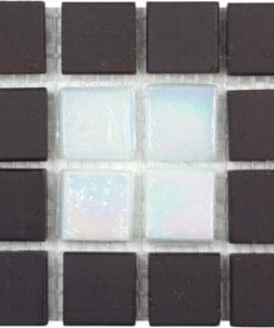 white glass brown stone mosaic