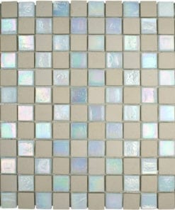 beige stone white glass mosaic