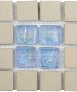 Blue glass beige stone mosaic