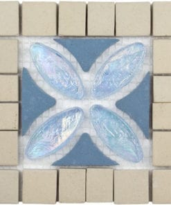 blue white mosaic tile