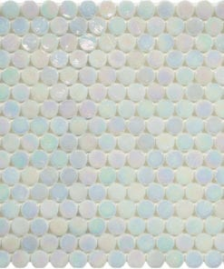 Round White Translucent Glass Mosaic