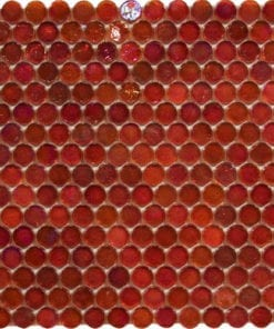 Round Red Translucent Glass Mosaic