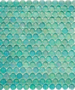 Round Aquamarine Translucent Glass Mosaic